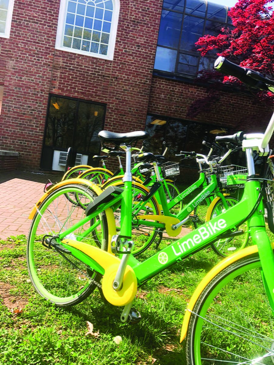LimeBikes can be left anywhere and do not need to be docked at a specific location.// Photo by DaeQuan Fitzgerald/ The Guilfordian