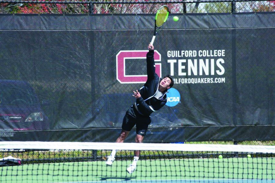 Mason+Robb+is+a+first-year+member+of+the+Guilford+College+men%E2%80%99s+tennis+team.+The+team+was+ranked+second+in+the+conference+season+poll.%2F+Photo+Courtesy+of+John+Bell%2C+Touch+A+Life+Photography