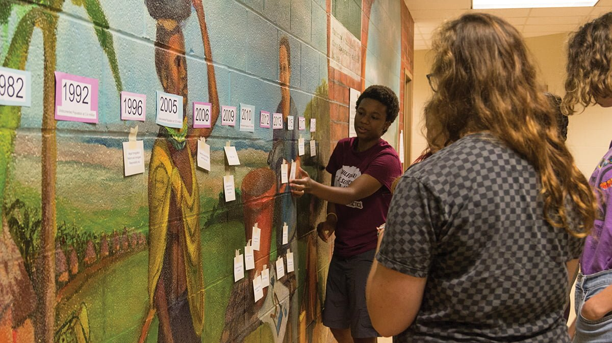 Senior Olivia Winder participates in an interactive timeline activity that explores legislation affecting the immigrant community. This activity was part of the UndocuAlly training that took place on Monday, Oct. 1 in King Hall. // Photo By: Fernando Jiménez/The Guilfordian