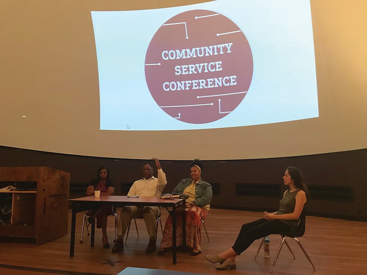 The first set of panelists from the Community Service Conference shares their experiences on service and encourages students to get more involved. // Photo By: Ethan Santana/The Guilfordian