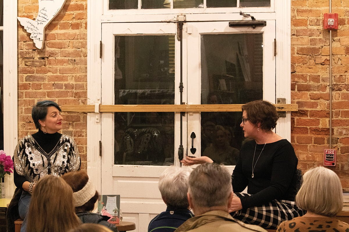 "Elly Lonon (right), author of ""Amongst the Liberal Elite,"" discusses her novel on Nov. 9 at Scuppernong Books.//Photo by: Mohamed Togol/ The Guilfordian"