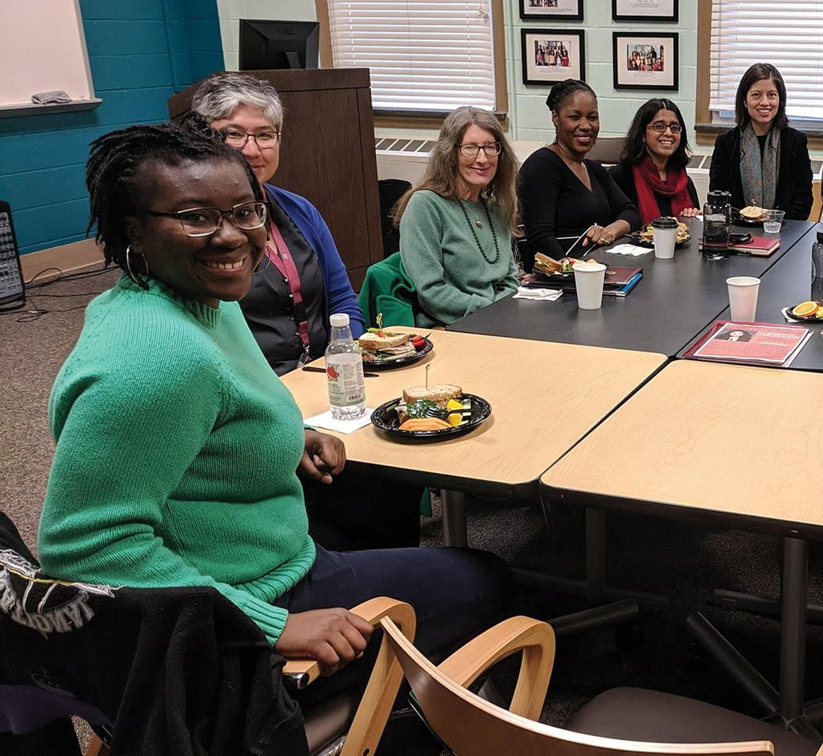 Students, faculty and staff pose during the community lunch with the founder and CEO of Pipeline Angels, Natalia Oberti Noguera. Pipeline Angels holds summits for angel investors and women and non-binary femme social entrepreneurs.// Photo courtesy Natalia Oberti Noguera