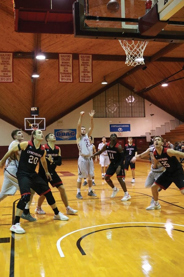 Guilford College men's basketball upsets nationally ranked and undefeated University of Lynchburg