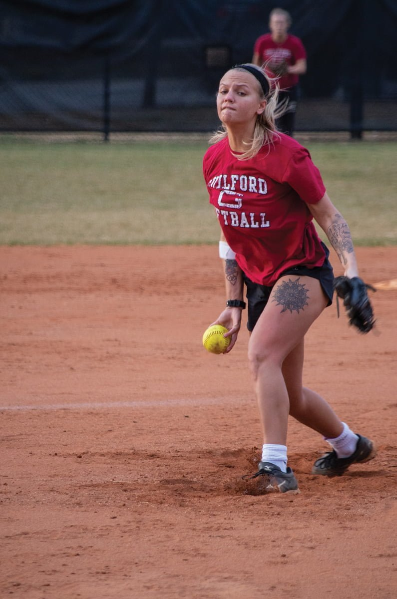 Junior pitcher Julie Gough hurls a pitch during practice on Feb. 6. Gough is the Quakers' top returning arm from last season.//Photo By Andrew Walker/The Guilfordian