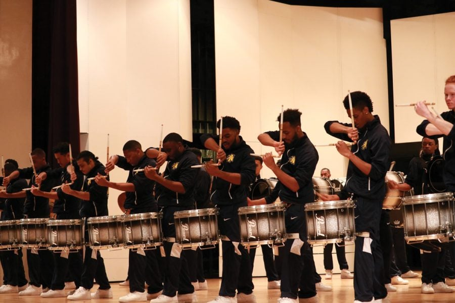 NCA%26T+Cold+Steel+Drumline+perform+at+the+Black+History+Month+in+Dana+Auditorium+on+Feb.+6%2C+2019.+This+event+started+a+month%E2%80%99s+worth+of+events+and+activities+planned+for+Guilford+students%2C+faculty+and+staff+as+well+as+the+Greensboro+Community.%2F%2FPhoto+By%3A+Abigail+Bekele%2FThe+Guilfordian+