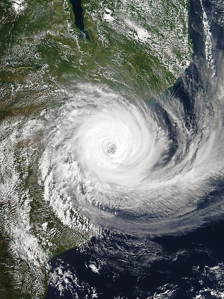 Satellite images shows the areas affected by Cyclone Idai.//photo courtesy of Wikimedia Commons