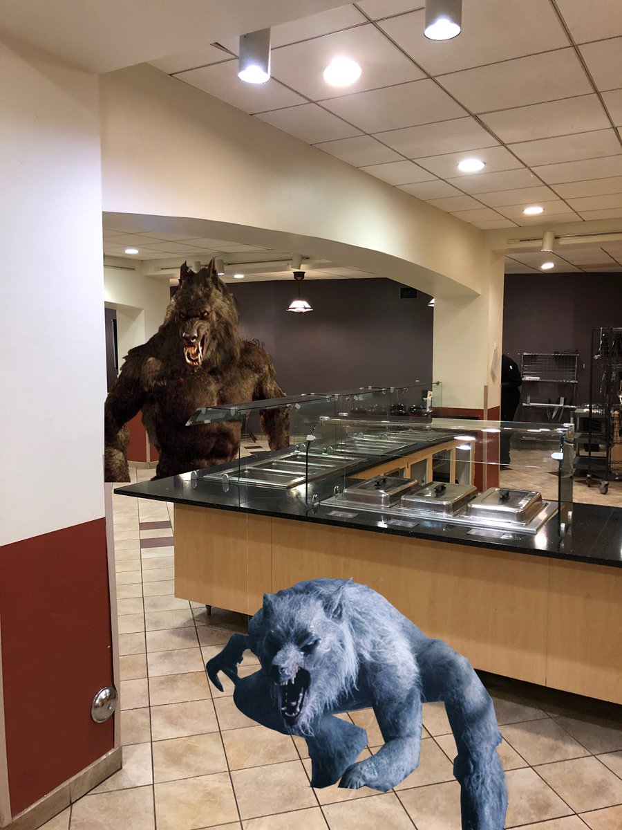Werewolves take over Guilford's Cafeteria following late hours after the closure of The Grill. Photo done by: Miko Martin