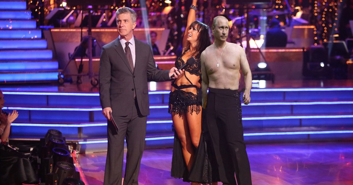Dancing with the Stars host Tom Bergeron interviews professional dancer Karina Smirnoff and her partner Russian President Vladimir Putin.//Photo done by: Andrew Walker