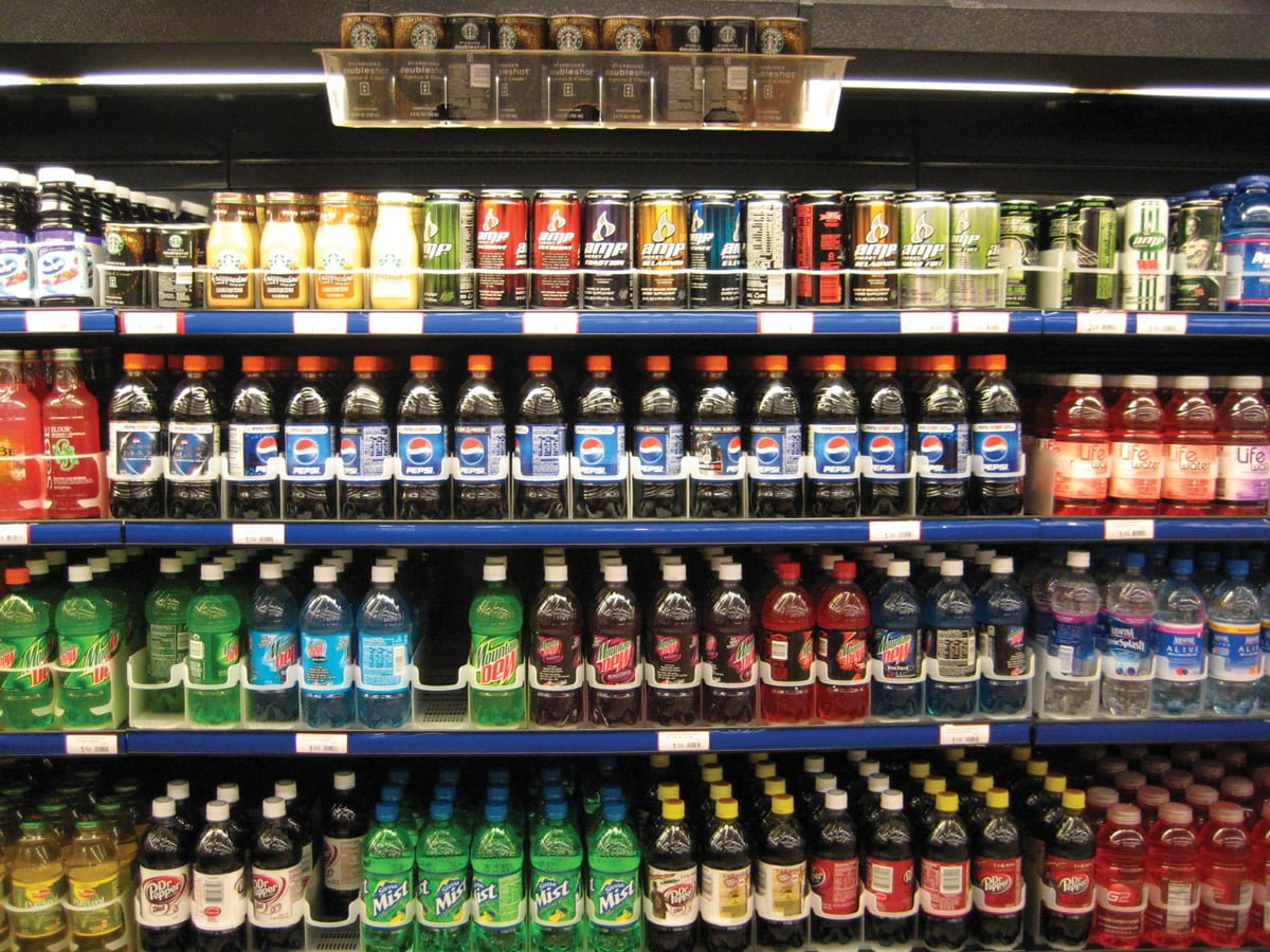 Sodas and soft drinks at a supermarket.//Photo courtesy Marlith/Wikimedia