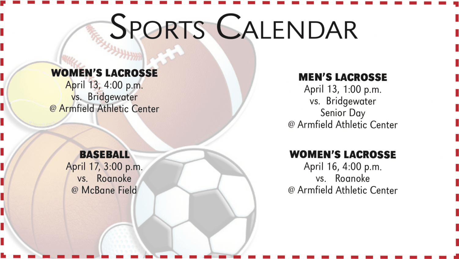 Sports Calendar Vol 105 Issue 22 April 12-April 18