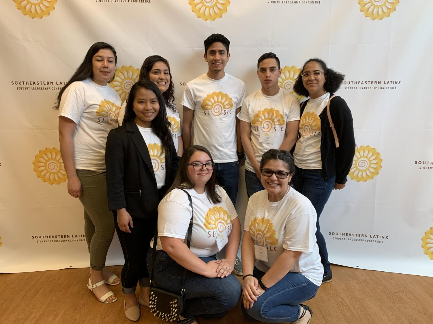 Hispanos Unidos de Guilford leaders attended the 2019 Southeastern LatinX Student Leadership Conference April 12-14 at Western Carolina University, where the club was honored with two awards.//Photo Courtesy Hispanos Unidos de Guilford