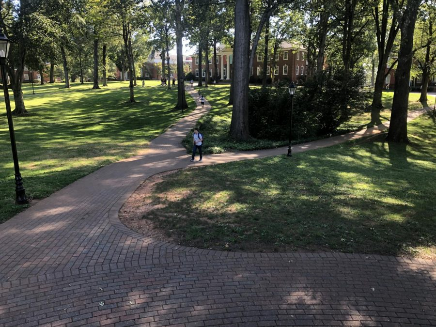 Students walk across Guilford's quad in September 2019.