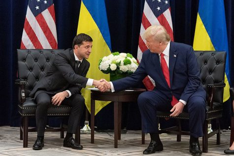 US President Donald Trump shakes hands with Ukrainian President Volodymyr Zelensky on the sidelines of the United Nations General Assembly meeting in New York on September 25. 2019. // Photo courtesy of Wikimedia Commons