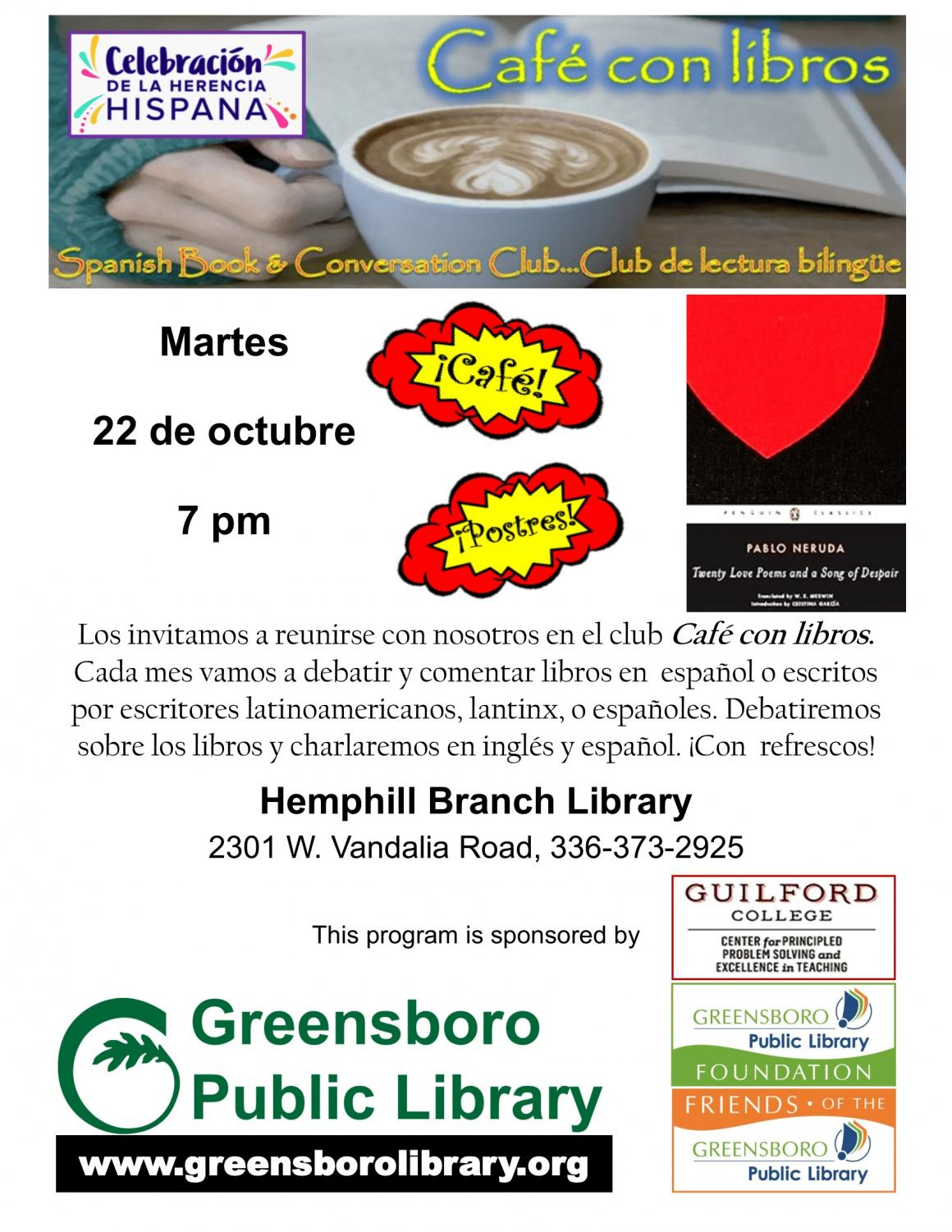 A promotional flyer inviting students to attend Café con Libros.