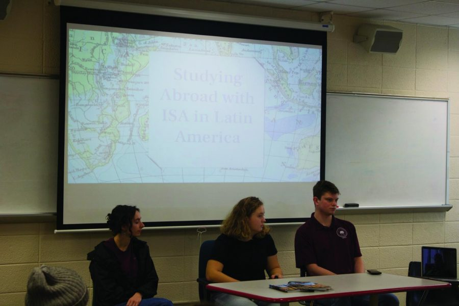 Seniors Allie Eigsti, Margaret Brown and Andrew Orchowsky (left to right) were among the panelists at the event.