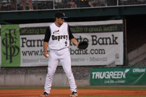 Guilford alumnus Mitchell Stumpo stares down a batter at a game