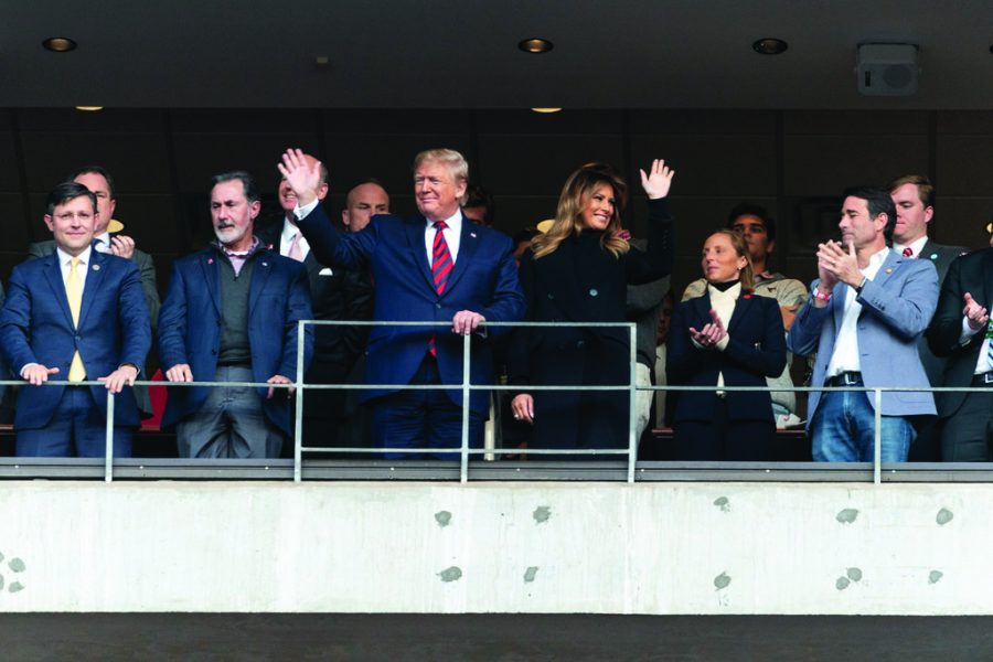 Public opinion on Trump has wavered in light of the impeachment proceedings. Trump was booed by fans at a World Series game, met with a mixed response at a martial arts fight, and was cheered for at the Alabama-Louisiana college football game that occurred on Nov. 9. The president and first lady garnered enthusiastic welcomes at the Bryant-Denny stadium.