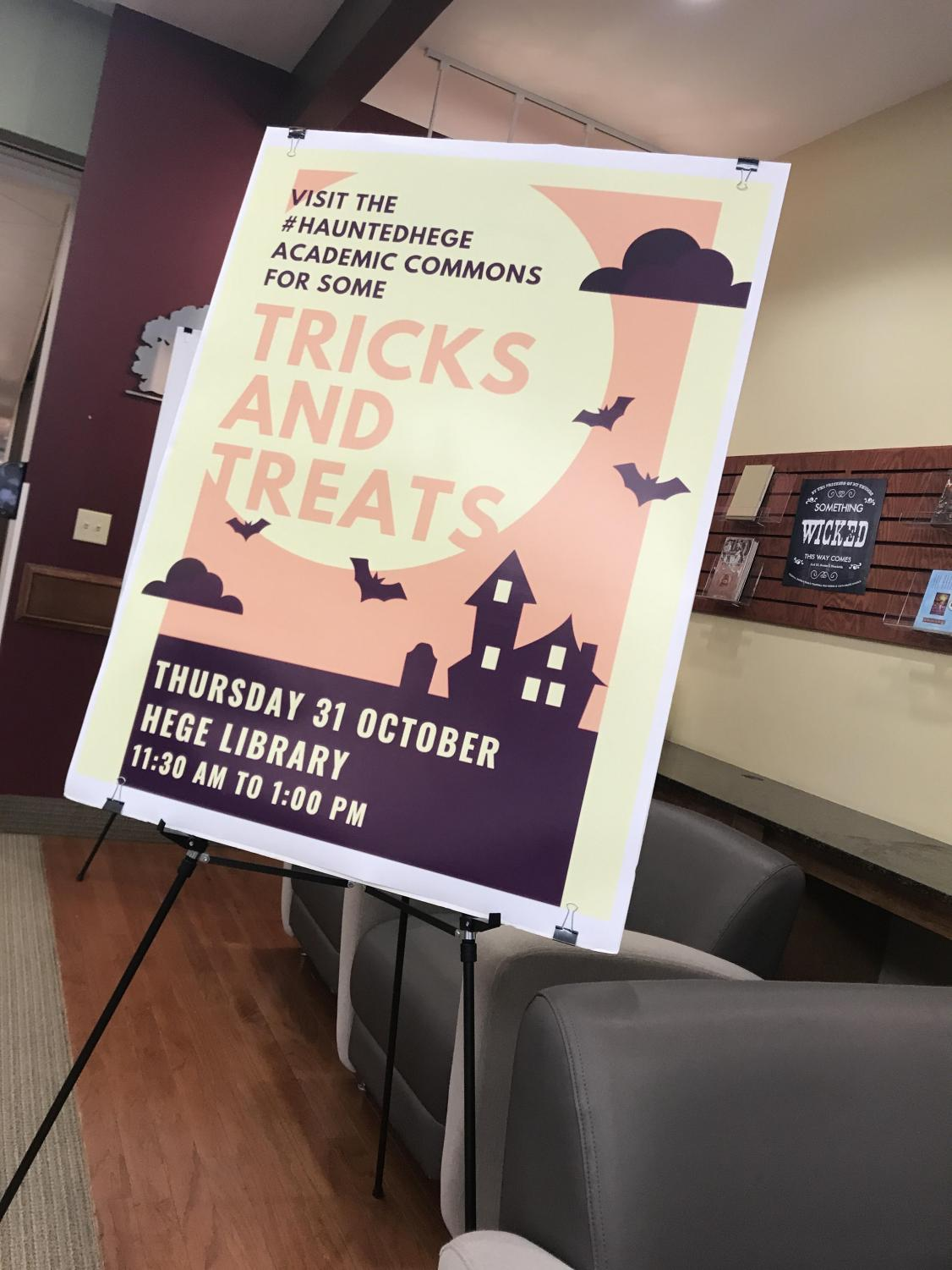 Sign posted in Hege Library advertising Haunted Hege event.