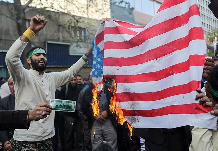 A group of Iranian protestors burned the American flag in 2017 as part of a demonstration marking the anniversary of the 1979 takeover of the American Embassy.