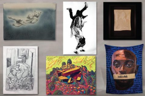 From top left to bottom right are pieces by Guilford Art faculty Charlie Tefft, Antoine Williams, Alyssa Miserendino, William Paul Thomas, Katy Collier and Miranda Reichhardt.