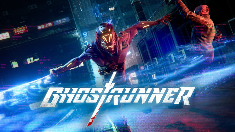 "A promotional photo for ""Ghostrunner,"" a cyberpunk action video game released in 2020 ."