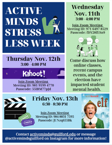 A poster describing events for Active Minds' Stress Less Week .