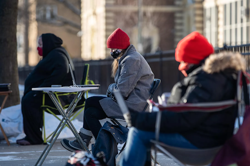 Instructors teach outdoors in Chicago, Illinois, on Jan. 21, 2021, protesting the intended upcoming return to in-person learning.