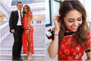 "U.S. teen dons a qipao, a traditional Chinese dress as a ""prom dress."""
