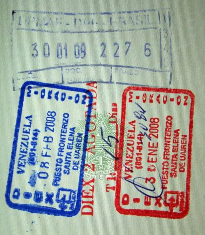 A Brazilian passport with Venezuelan stamps.