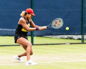 Naomi Osaka practicing before the matches in the Nottingham 2018 Open begin.