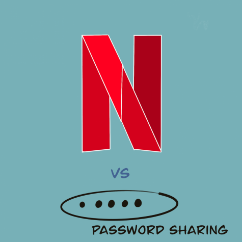A digital graphic design representing the Netflix password sharing issue.
