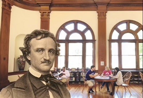 Poe prepares for his reading by haunting students frantically studying for Tim Kircher's Elizabethan Age class. They reported that facing Poe was far preferable to facing Tim. // design by Maira Vandiver