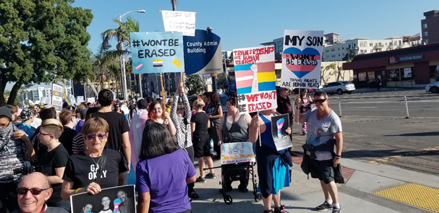 A protest for transgender rights in San Diego.